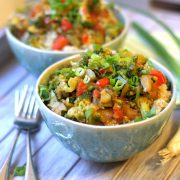 Quinoa and vegetable teriyaki bowl with forks