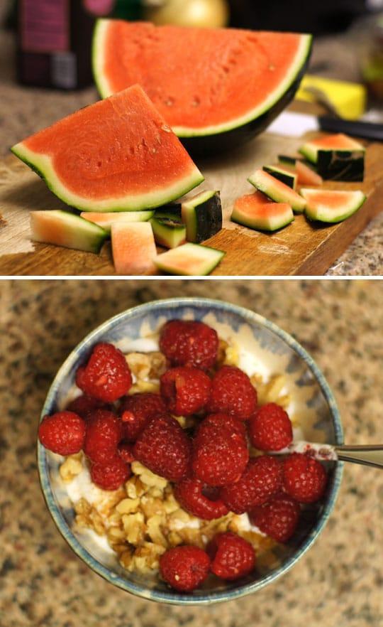 watermelon sliced and a owl of yogurt, walnuts, and raspberries