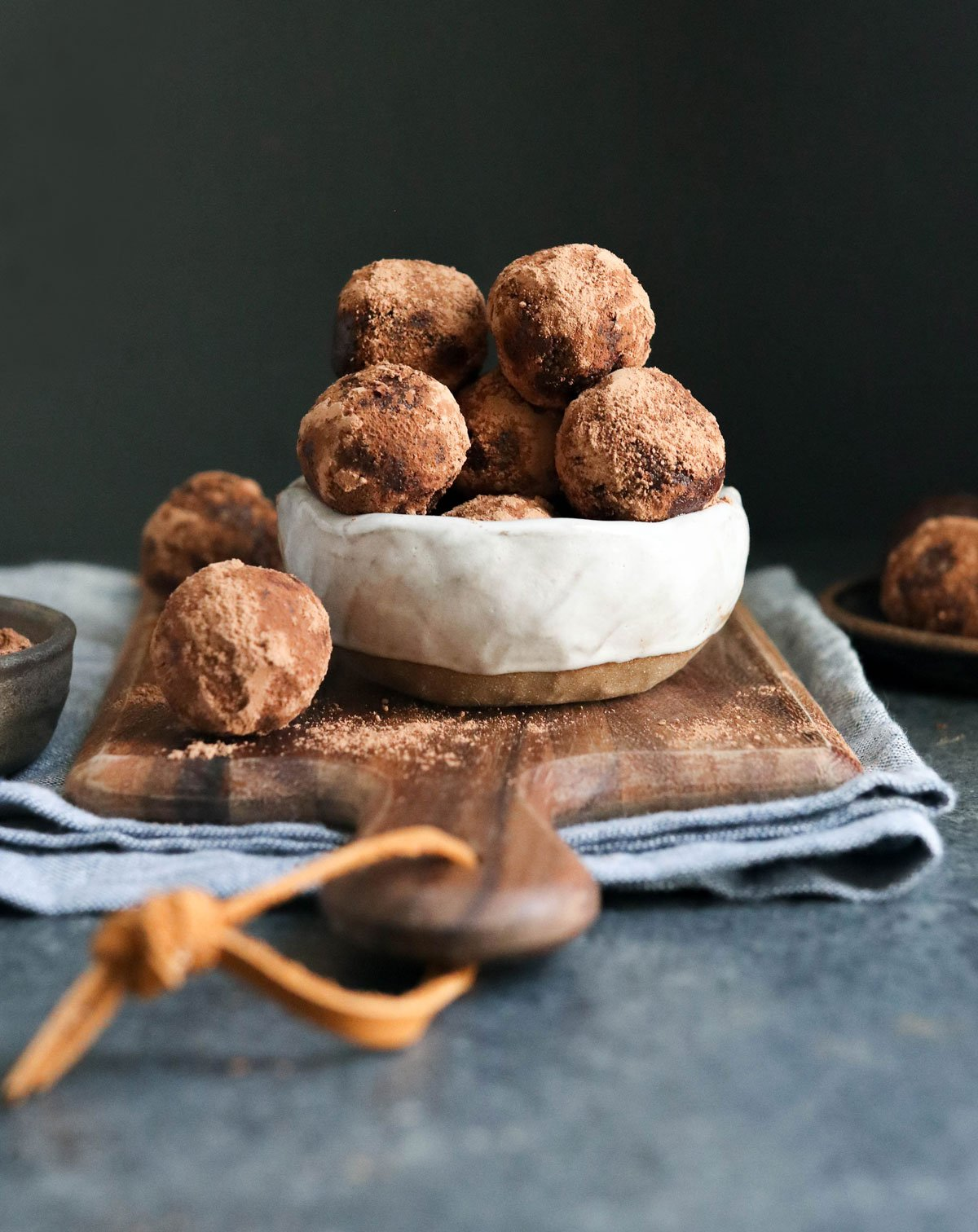 date energy balls rolled in cacao powder