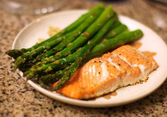 asparagus and salmon on a plate