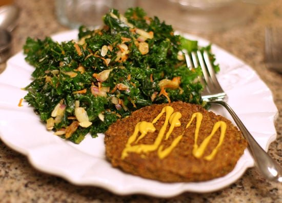 kale salad and veggie burger