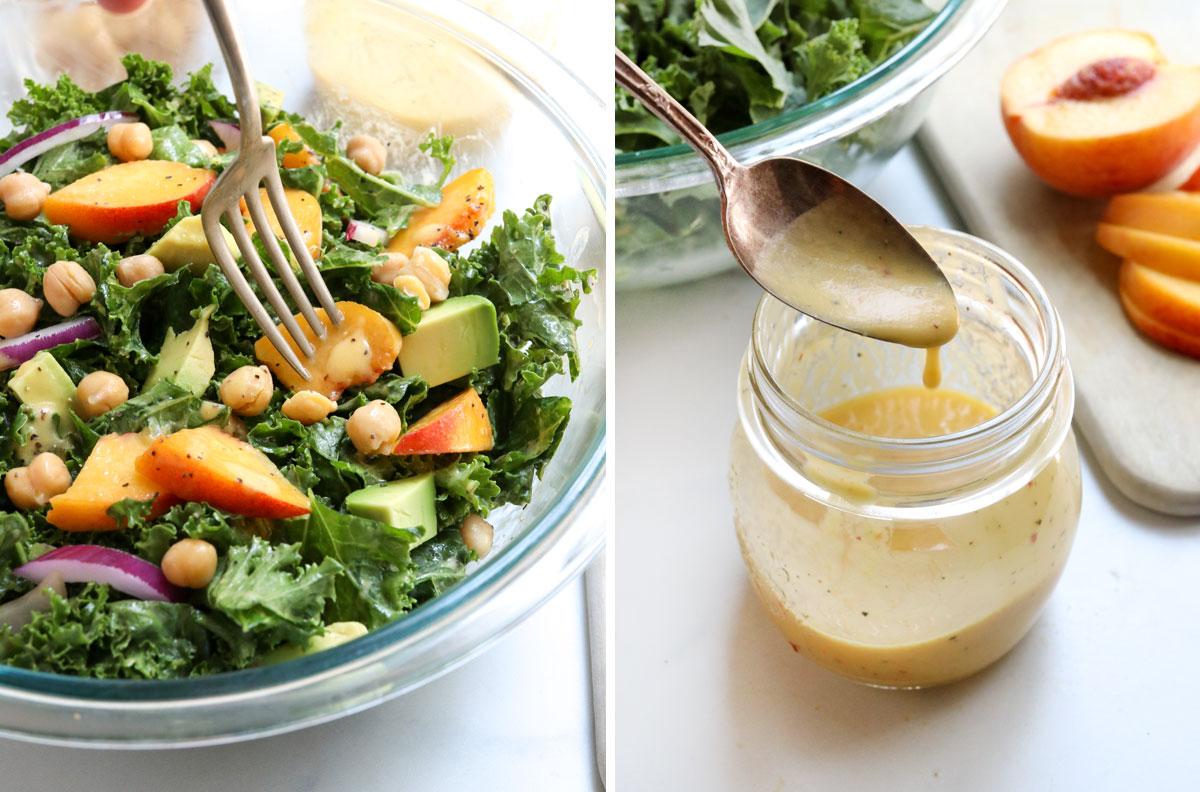 fork eating peach salad and dressing in mason jar