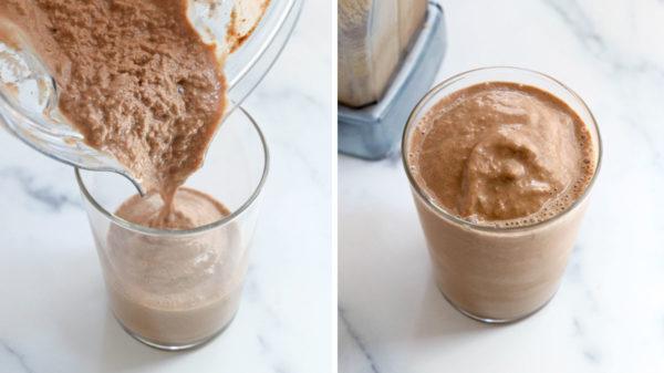 hazelnut smoothie poured into glass