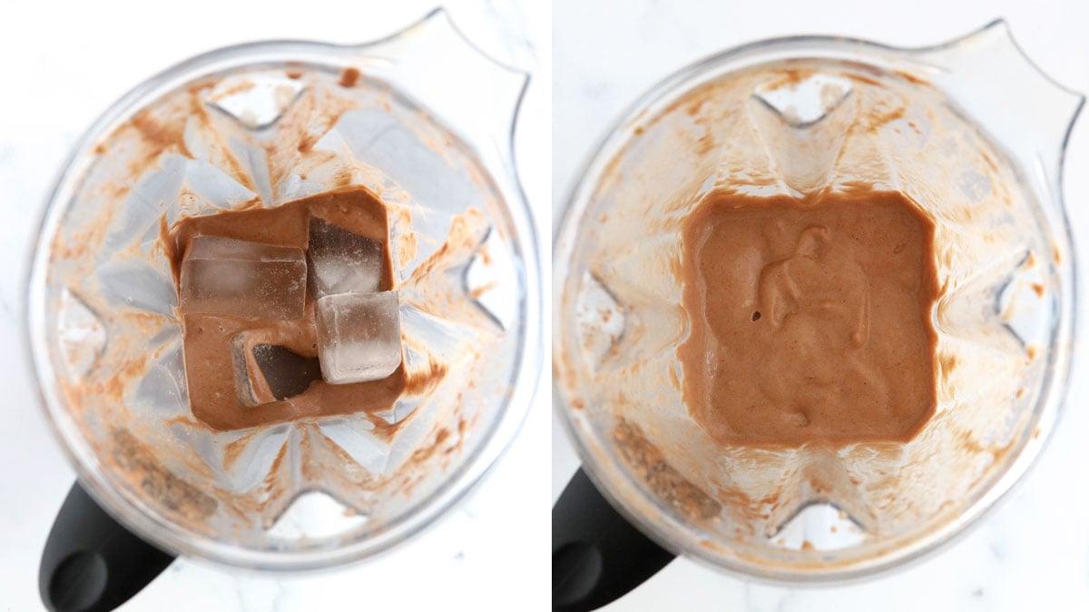 ice added to hazelnut smoothie in blender