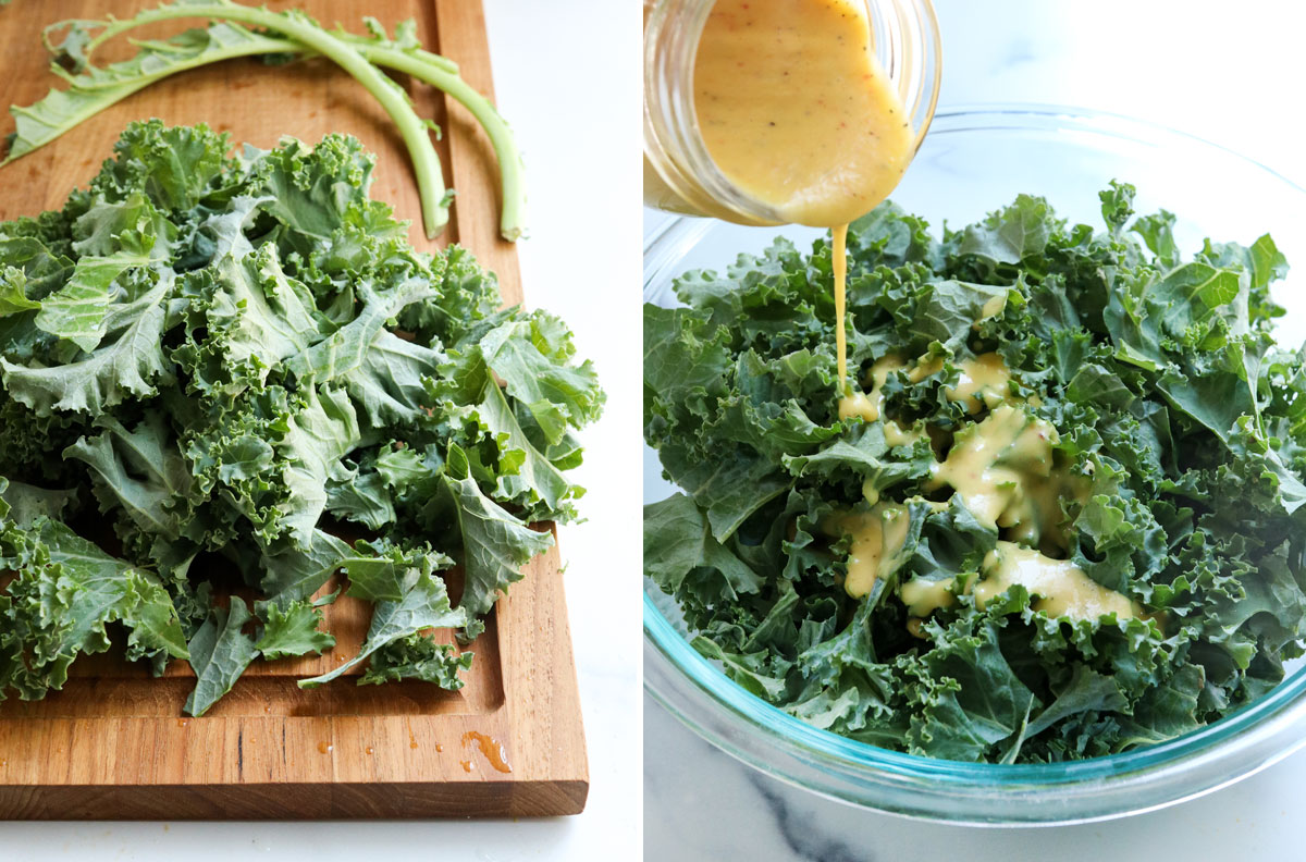 kale leaves removed from stems and dressed in bowl