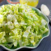 Salad with garlic pecorino dressing