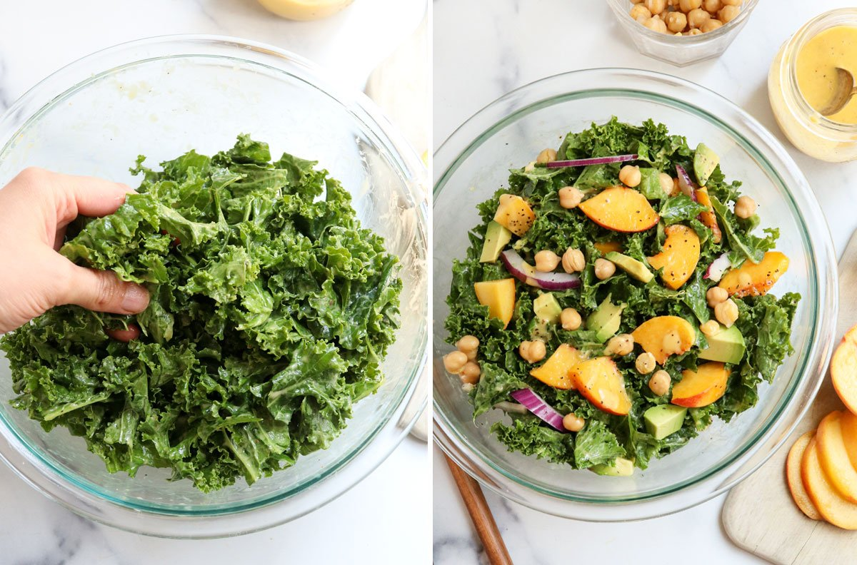kale massaged and topped with peaches