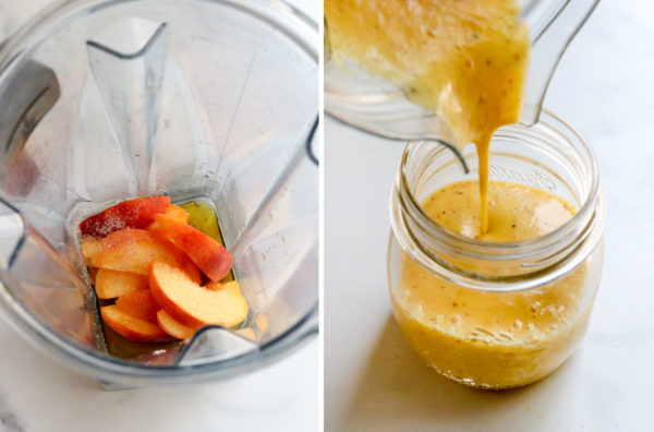 peach dressing poured from blender into jar