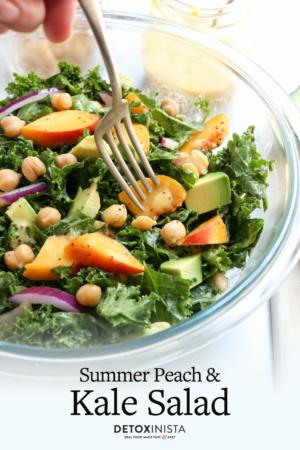 kale and peach salad pin