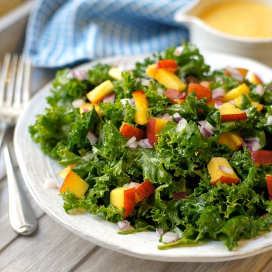 kale salad with peach vinaigrette