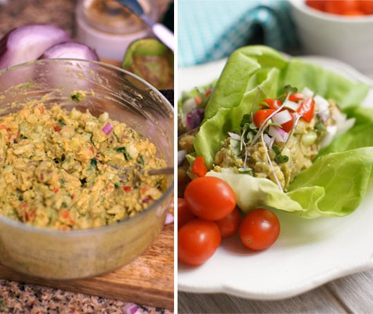 Chickpea and avocado egg salad in a bowl and in a lettuce wrap