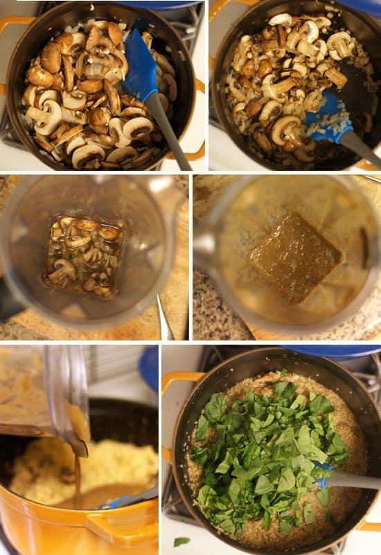 preparing spinach and mushroom quinoa risotto