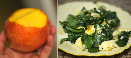 peach and scrambled eggs with spinach