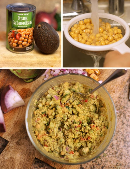 preparing chickpea and avocado egg salad