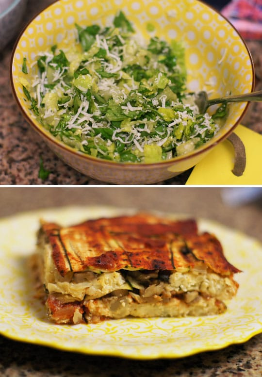 salad in a bowl and vegetable lasagna on a plate