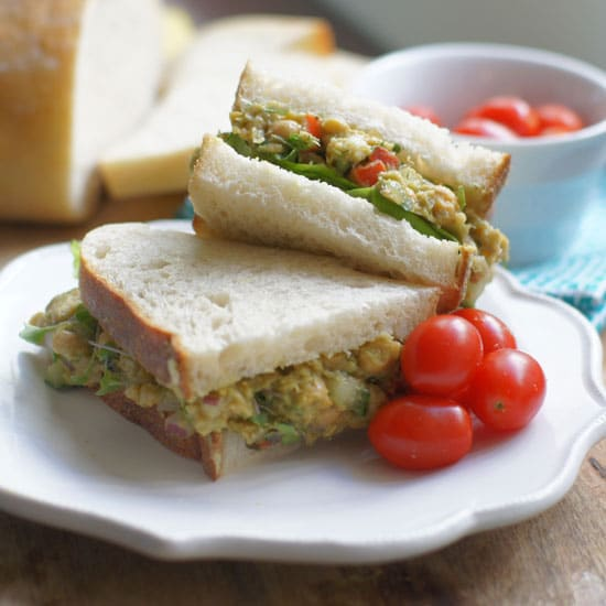 chickpea and avocado egg salad sandwich
