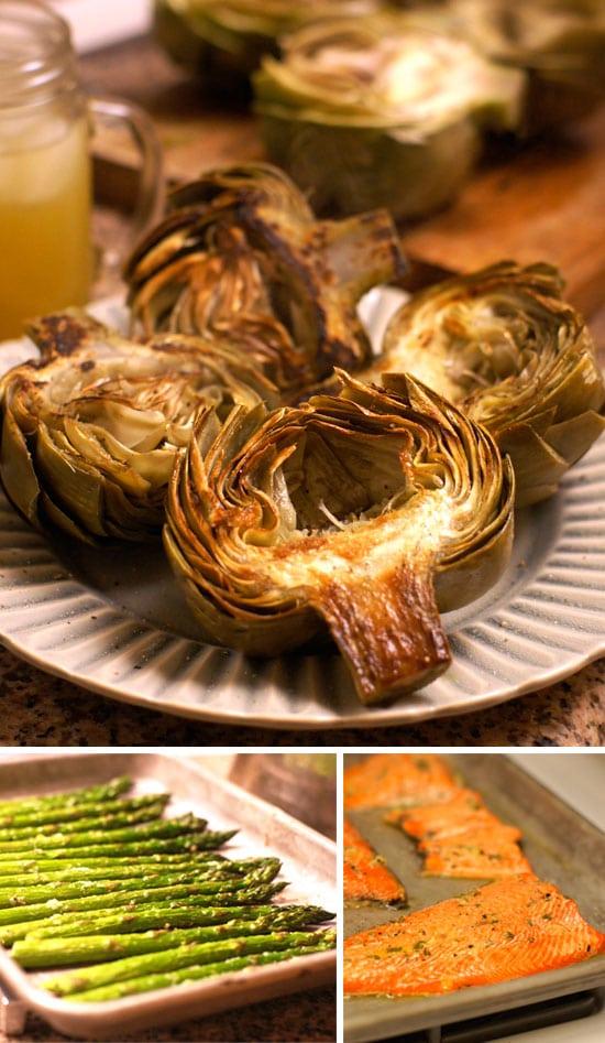 artichoke, asparagus, and salmon