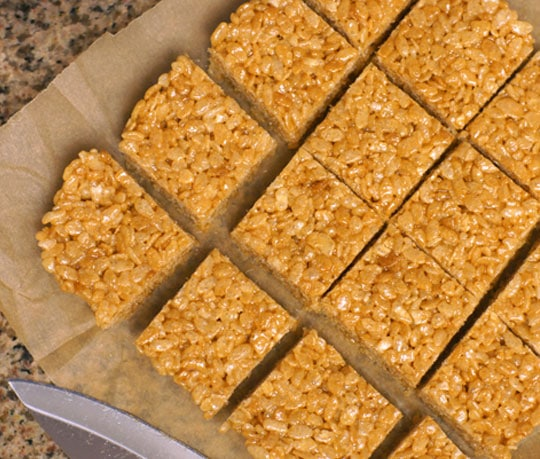 cut peanut butter and honey rice crispy treats