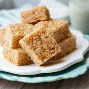 Plate of healthy rice crispy treats