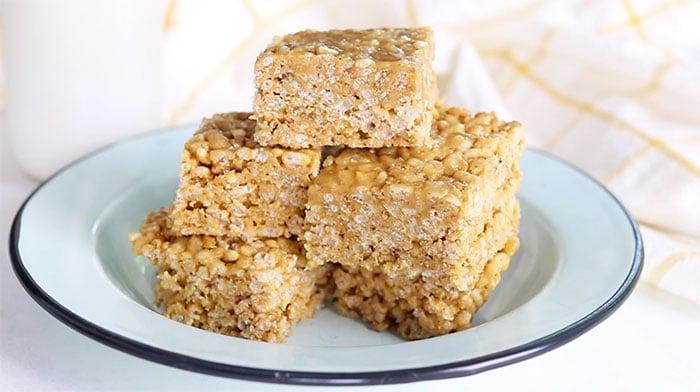 peanut butter Rice Krispie treats on plate