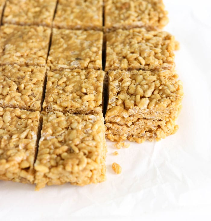 peanut butter rice crispy treats sliced into squares