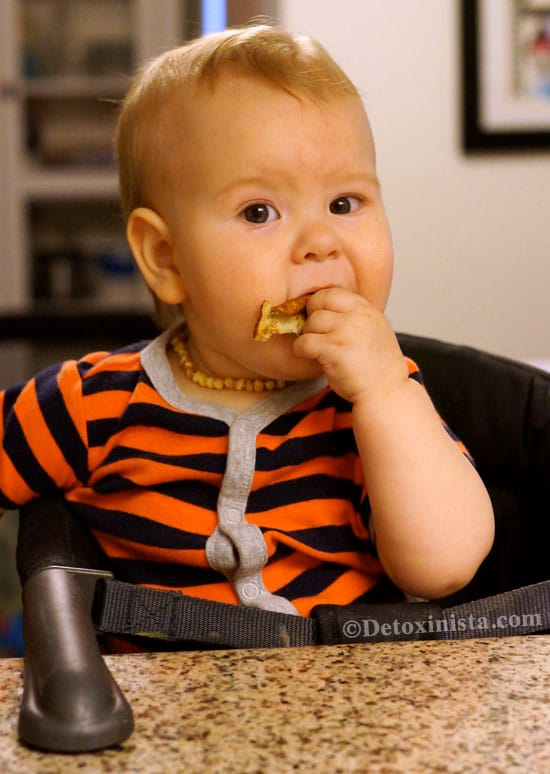 baby eating a pancake