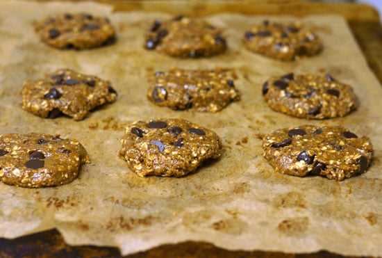 vegan lactation cookies on a cookie sheet