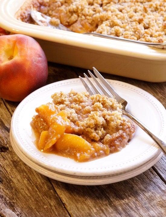 peach crisp on a plate