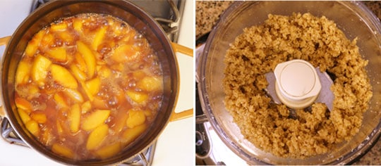 preparing peach crisp