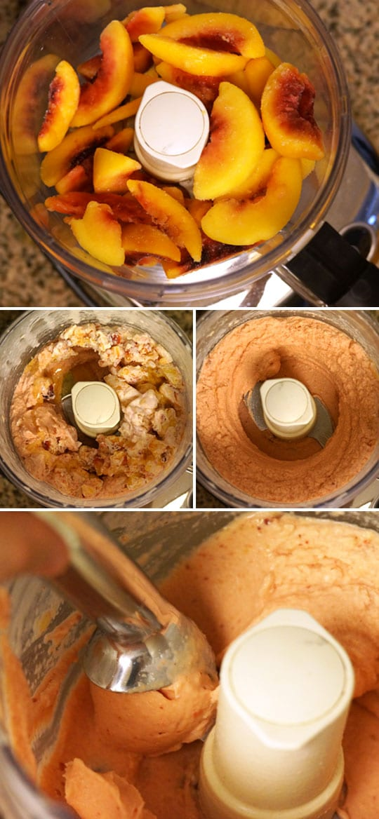 making peach ice cream in a food processor