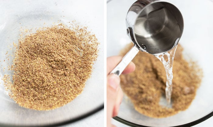 ground flax and water in bowl for lactation cookies