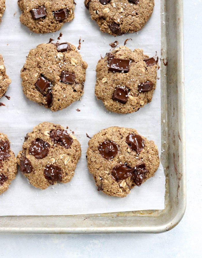 healthy lactation cookies on pan