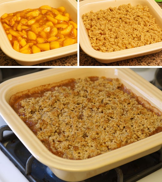 making peach crisp in a baking dish