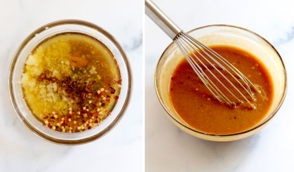 thai peanut dressing whisked in glass bowl