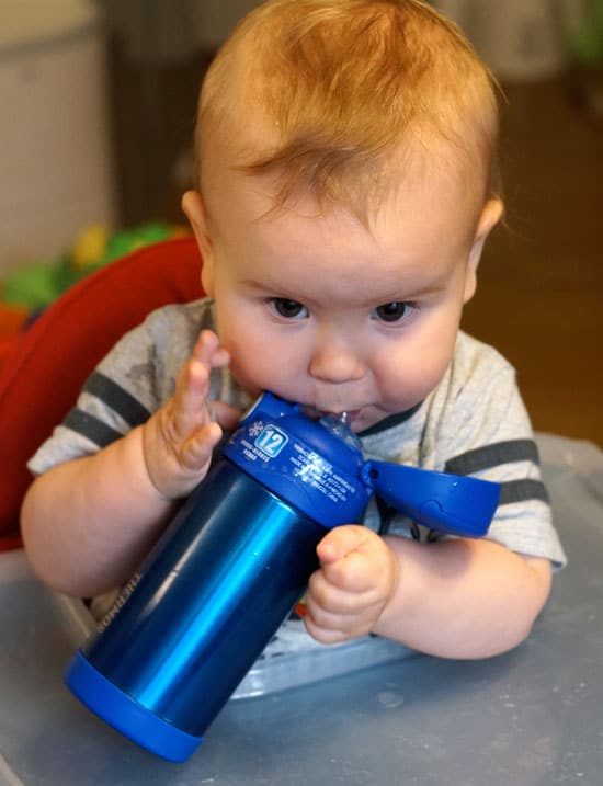 baby using thermos funtainer straw bottle