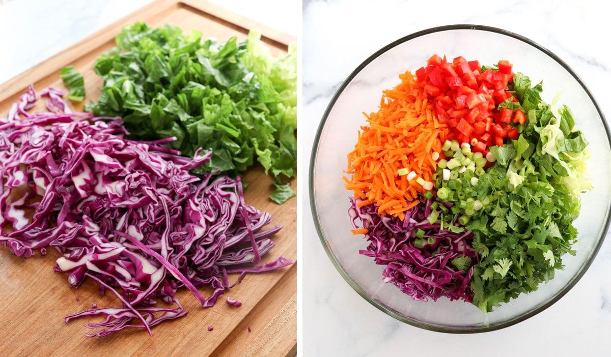 shredded veggies added to glass bowl