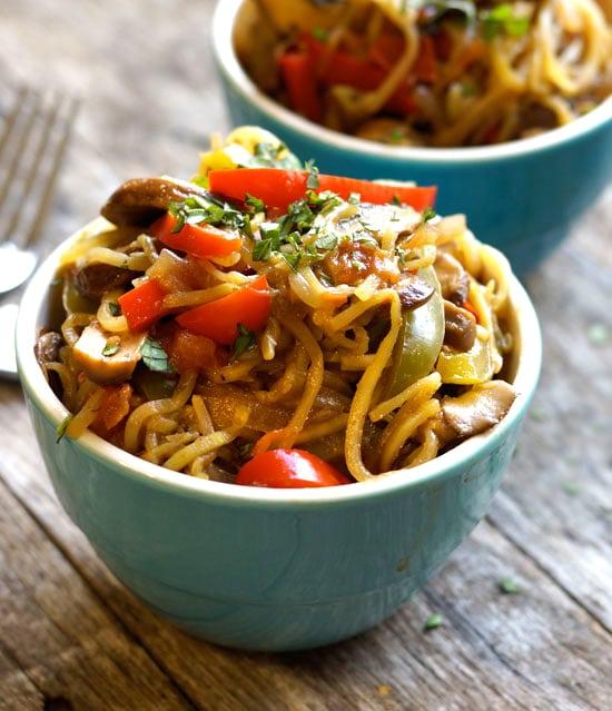 cajun zucchini noodle pasta in a bowl