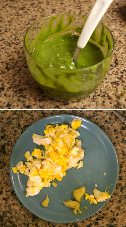 apple, pear, avocado, and spinach puree in a bowl and scrambled eggs on a plate