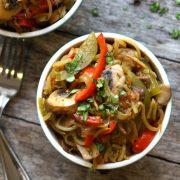 Overhead cajun zucchini noodle pasta