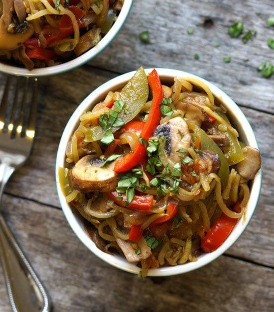 cajun zuchinni noodle pasta in a bowl