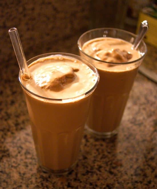chocolate peanut butter milkshakes in two glasses