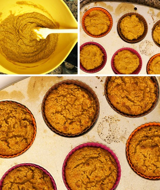 pumpkin spice muffin mix put into muffin tin