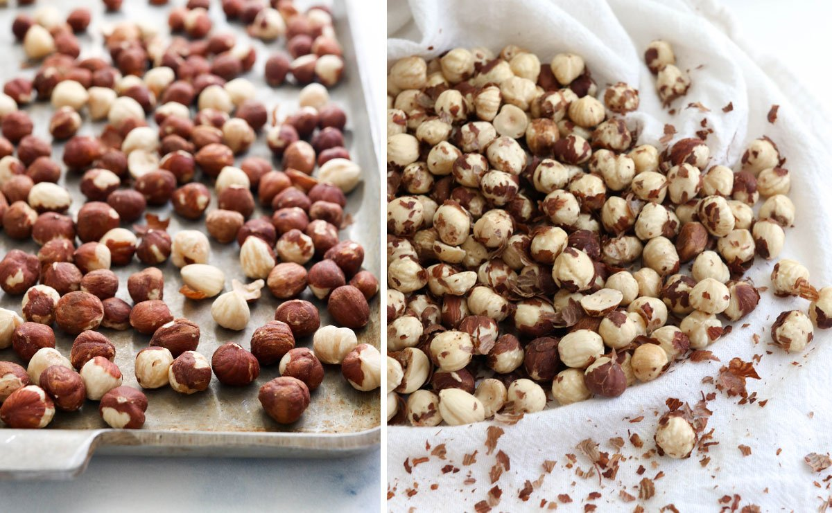 roasted hazelnuts on pan and in towel