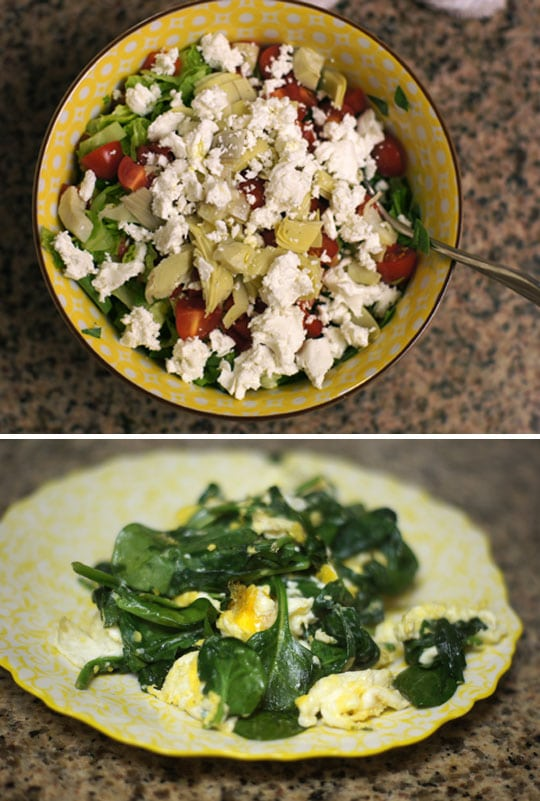 bowl with salad with honey dijon dressing and a plate with scrambled eggs and spinach