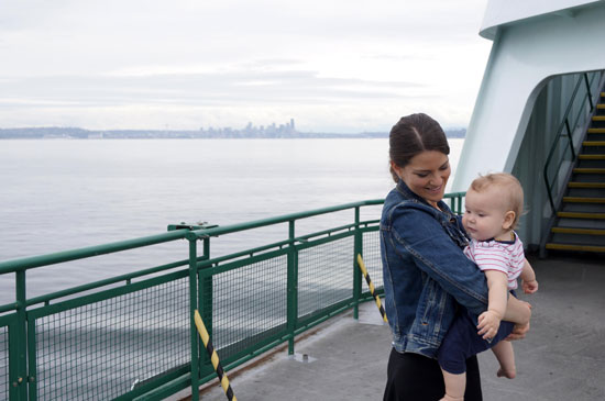 mom and son on a seattle ferry