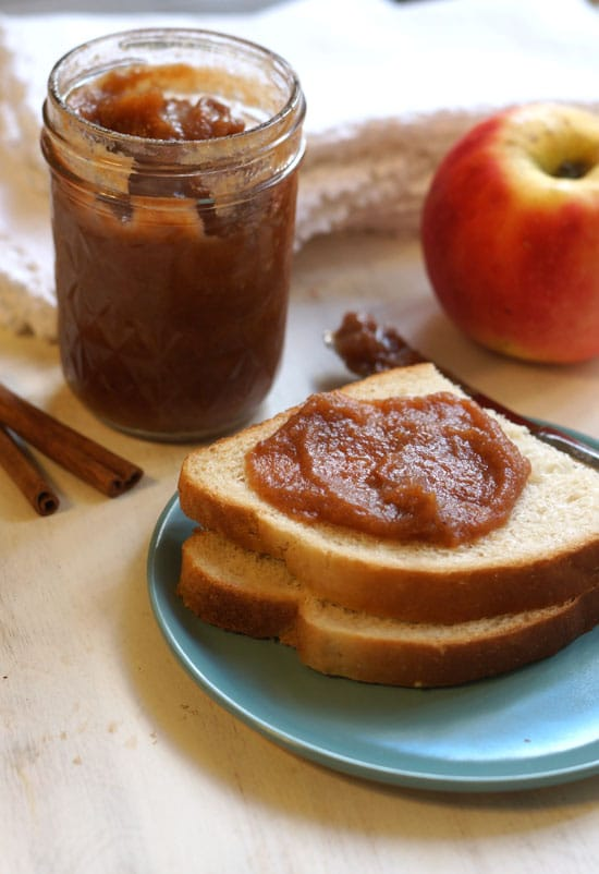 apple butter in a glass jar and spread on toast