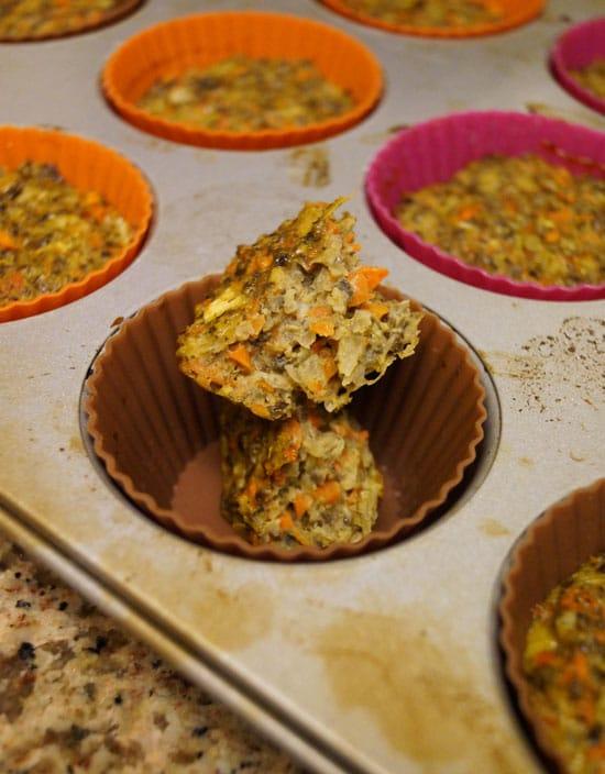 veggie muffin in a muffin tin