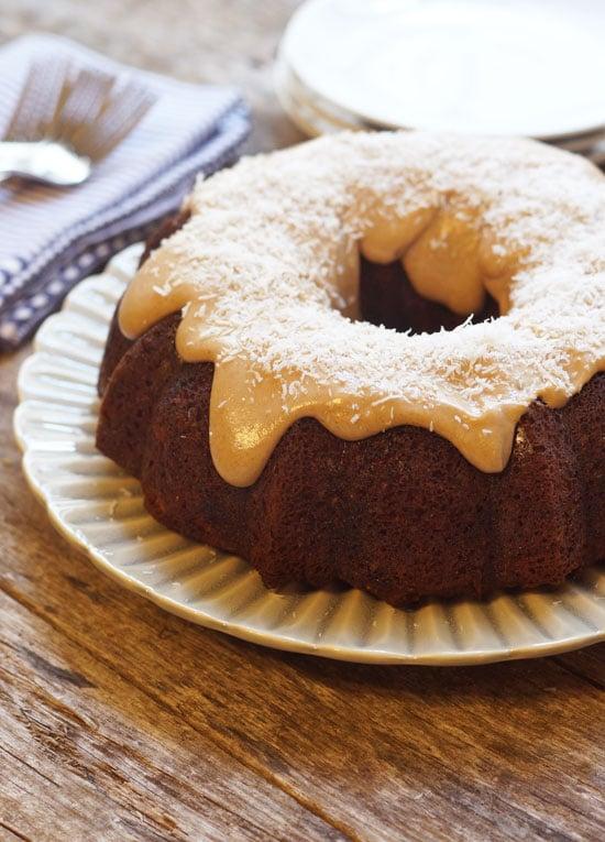 coconut flour carrot cake with maple pecan glaze on top