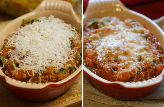 baked vegetable marinara with cheese on top