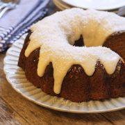Bundt cake with lemon coconut glaze